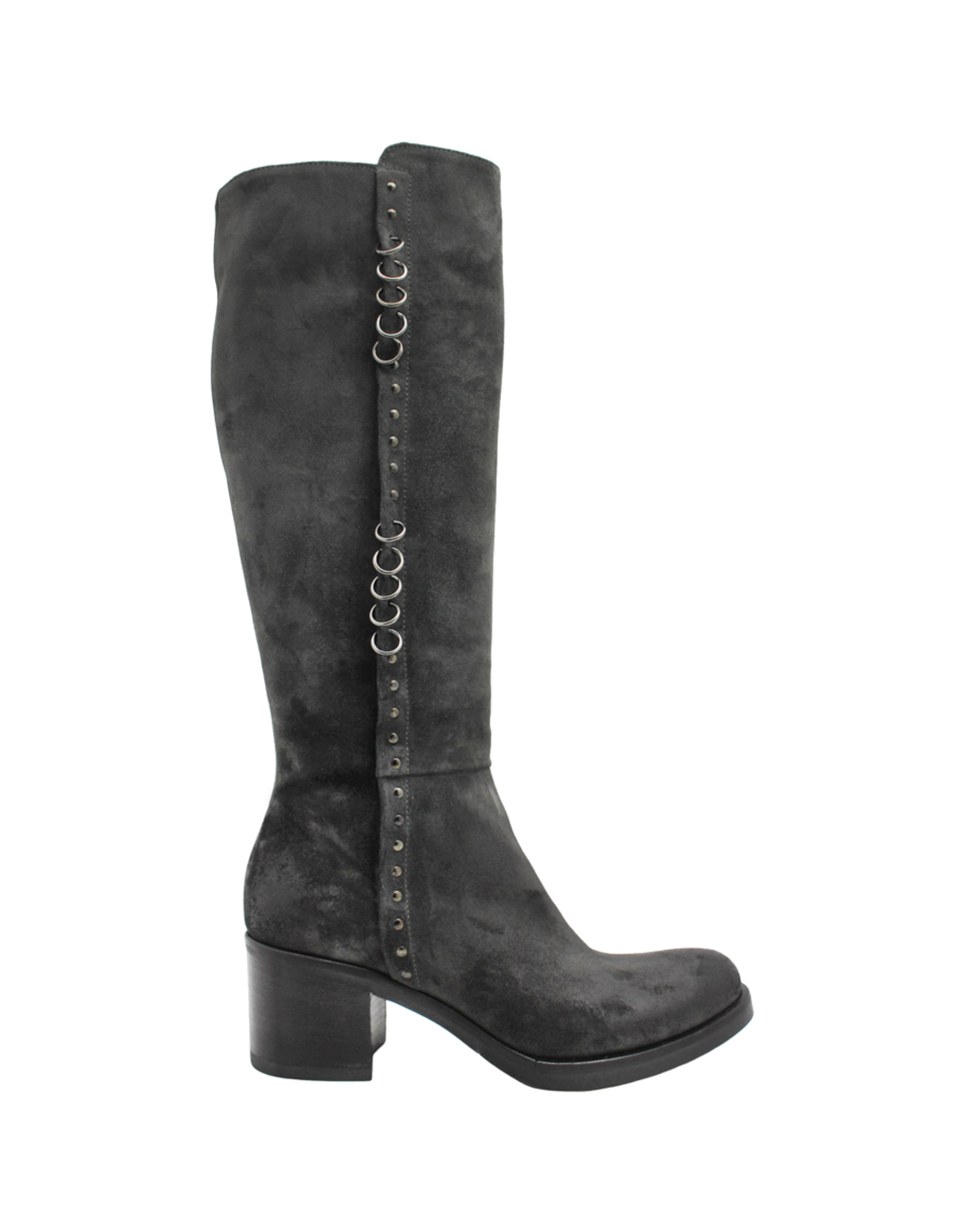 Now Now Graphite Suede Knee Boot With Pierced Rings 6014
