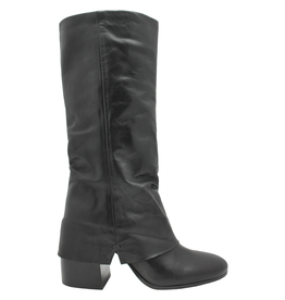 Now Now Black Nappa Fold Over Mid-Calf Boots 6006