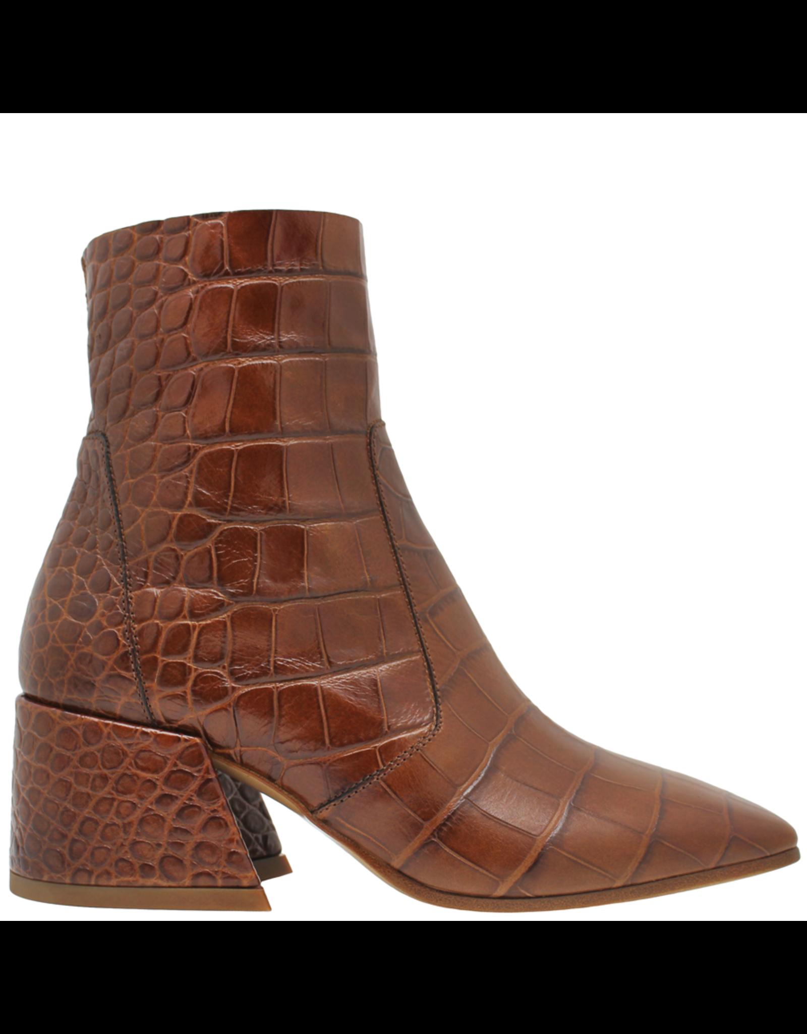 Elena Iachi ElenaIachi Brown Croco Square Toe Ankle Boot With Side Zipper 1945
