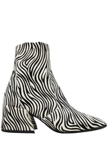 Elena Iachi ElenaIachi White Black Zebra Hair Calf Square Toe Side Zip 1955