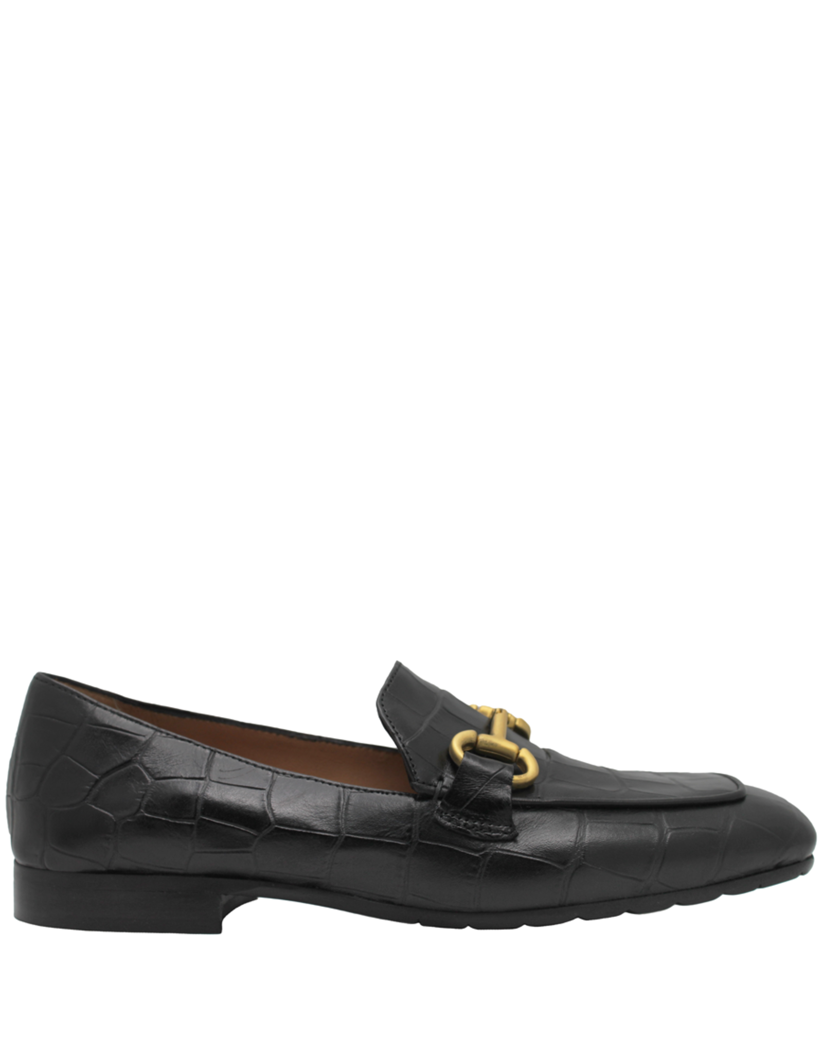 MaraBini MaraBini Black Croco Stamp Loafer With Gold Bit 7412