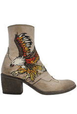 FauzianJeunesse FauzianJeunesse Taupe Ankle Boot With Embroidered Eagle 3483