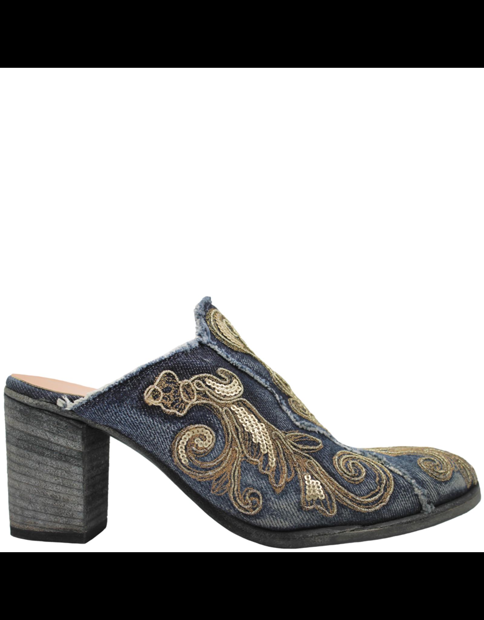 FauzianJeunesse FauzianJuenesse Blue Denim Mule With Gold Embroidery 3583