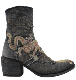 FauzianJeunesse FauzianJeunesse Black Denim Embroidered Dragon Boot 3628
