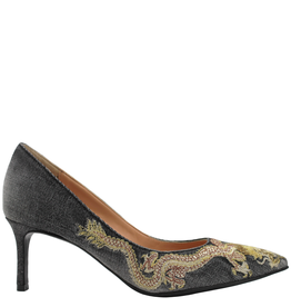 FauzianJeunesse FauzianJeunesse Black Denim Embroidered Dragon Pump 5804