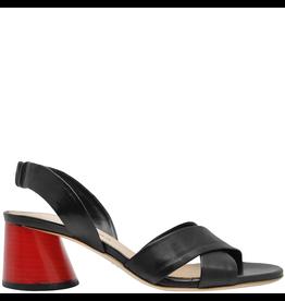 Halmanera Halmanera Black Criss Cross Sandal Red Heel 2015