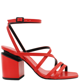 VicMatie VicMatie Red Strappy Sandal Medium Heel Silver Accent 8604