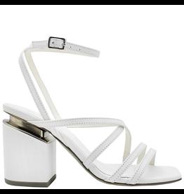VicMatie VicMatie White Strappy Sandal Medium Heel Silver Accent 8604