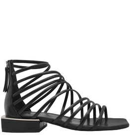 VicMatie VicMatie Black Strappy Flat Sandal With Back Zipper 8722