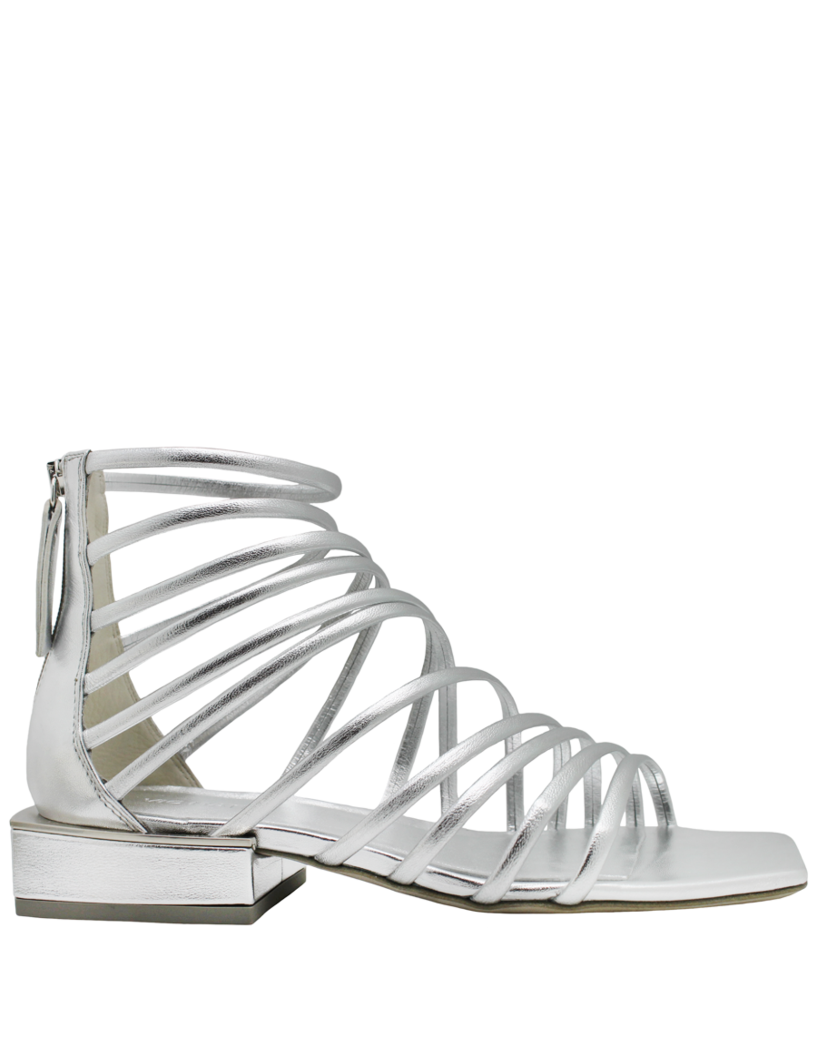 VicMatie VicMatie Silver Strappy Flat Sandal With Back Zipper 8722