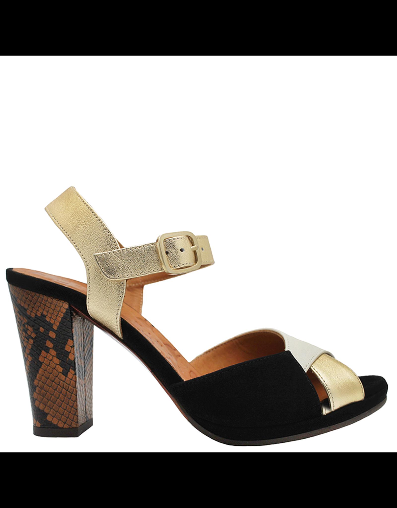 ChieMihara ChieMihara Black Suede Leche And Platinum Buckled Sandal Abra