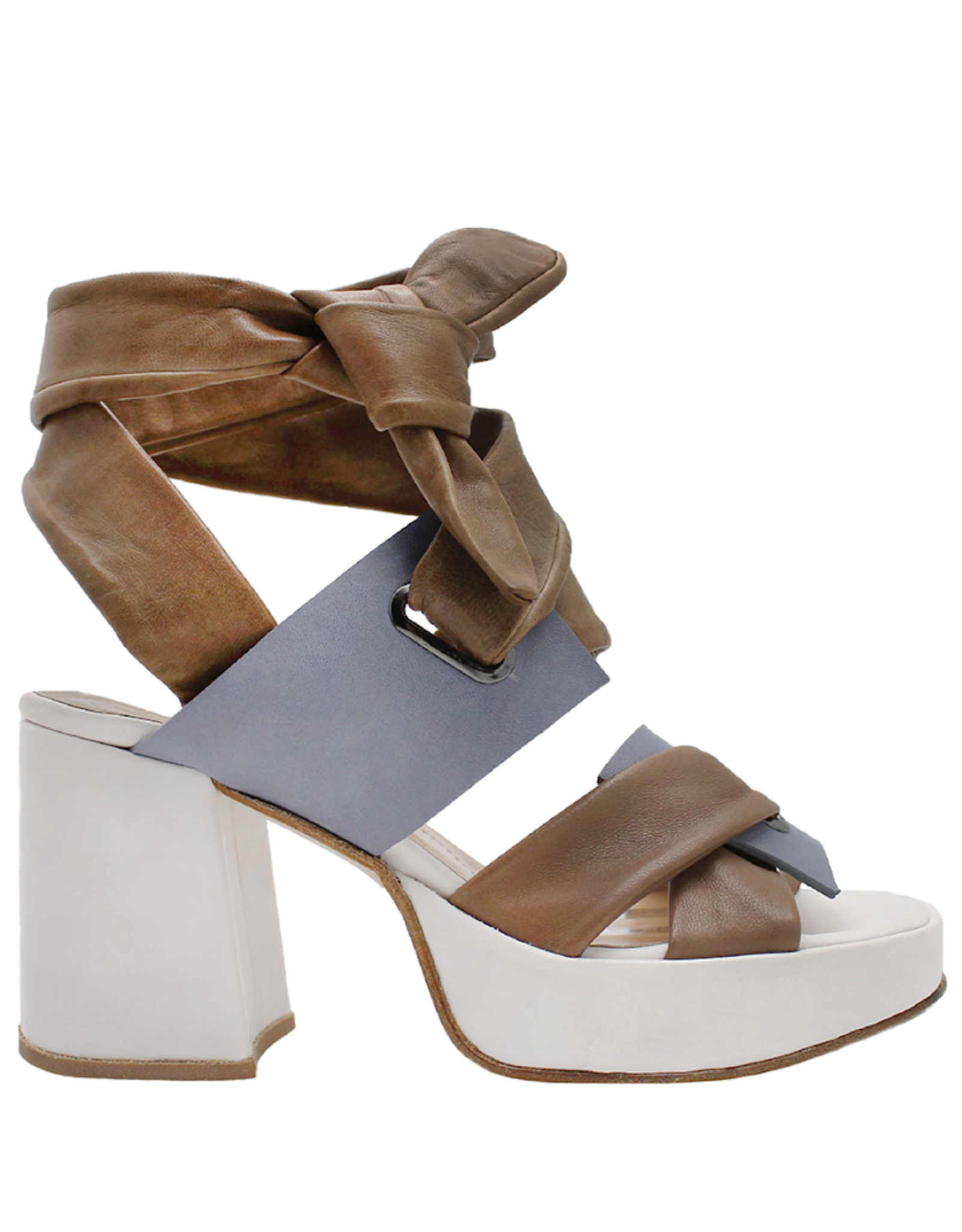 Ixos Ixos Camel/ Wisteria /White Platform Ankle Tie Sandal 9002
