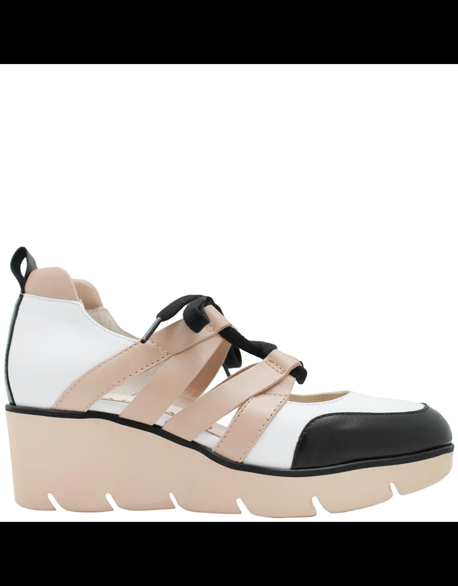 Gadea Gadea Black White Natural Closed Toe Lace-Up Sandal 1082