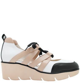 Gadea Gadea Black White Natural Closed Toe Lace-Up Sandal 1082