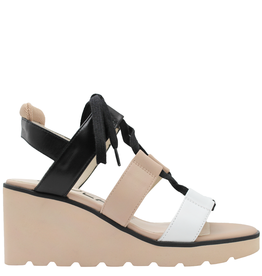 Gadea Gadea White Natural Black Lace-Up White Wedge Sandal 1087