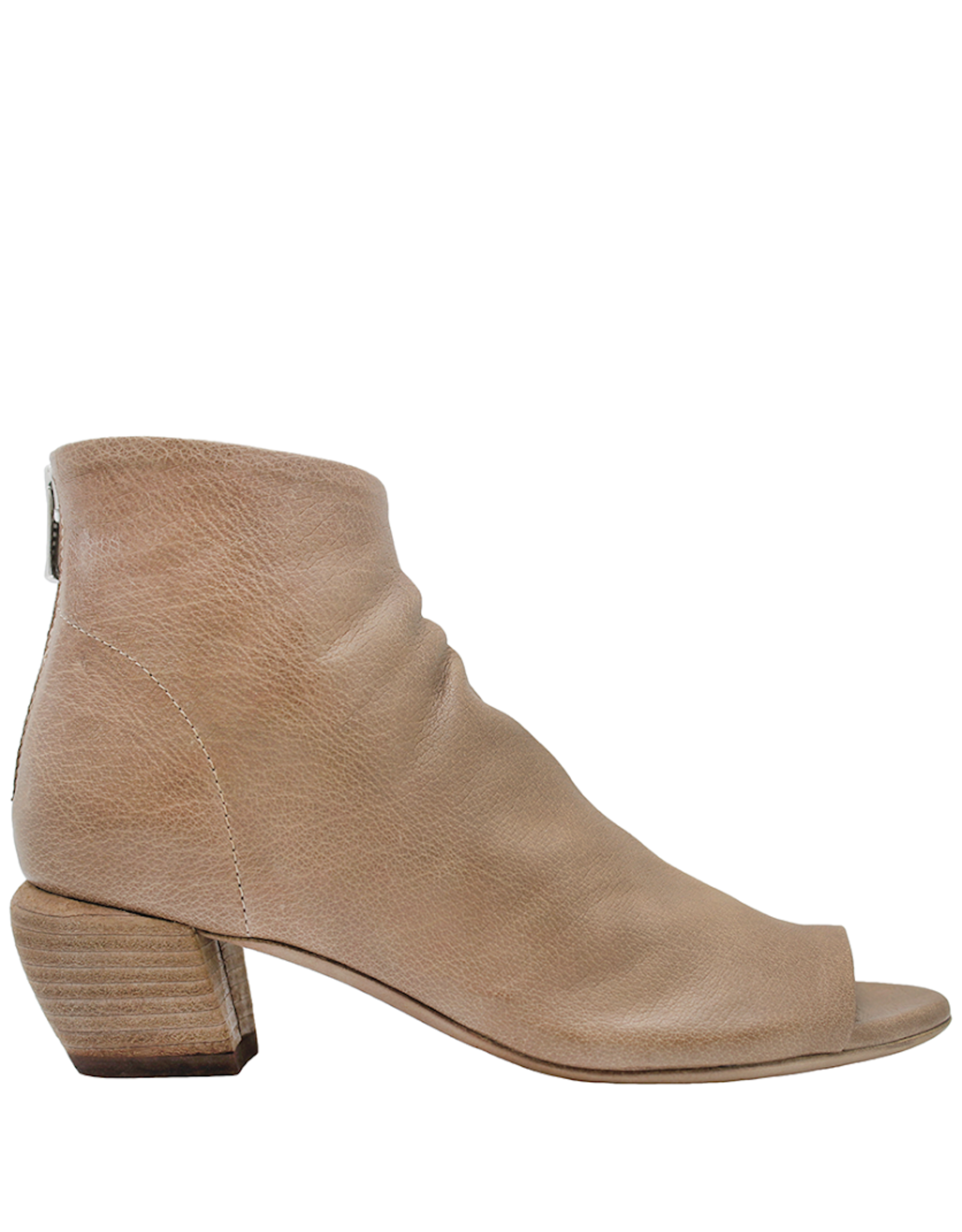 Officine Creative OfficineCreative Tan Open Toe Bootie With Back Zipper Fia