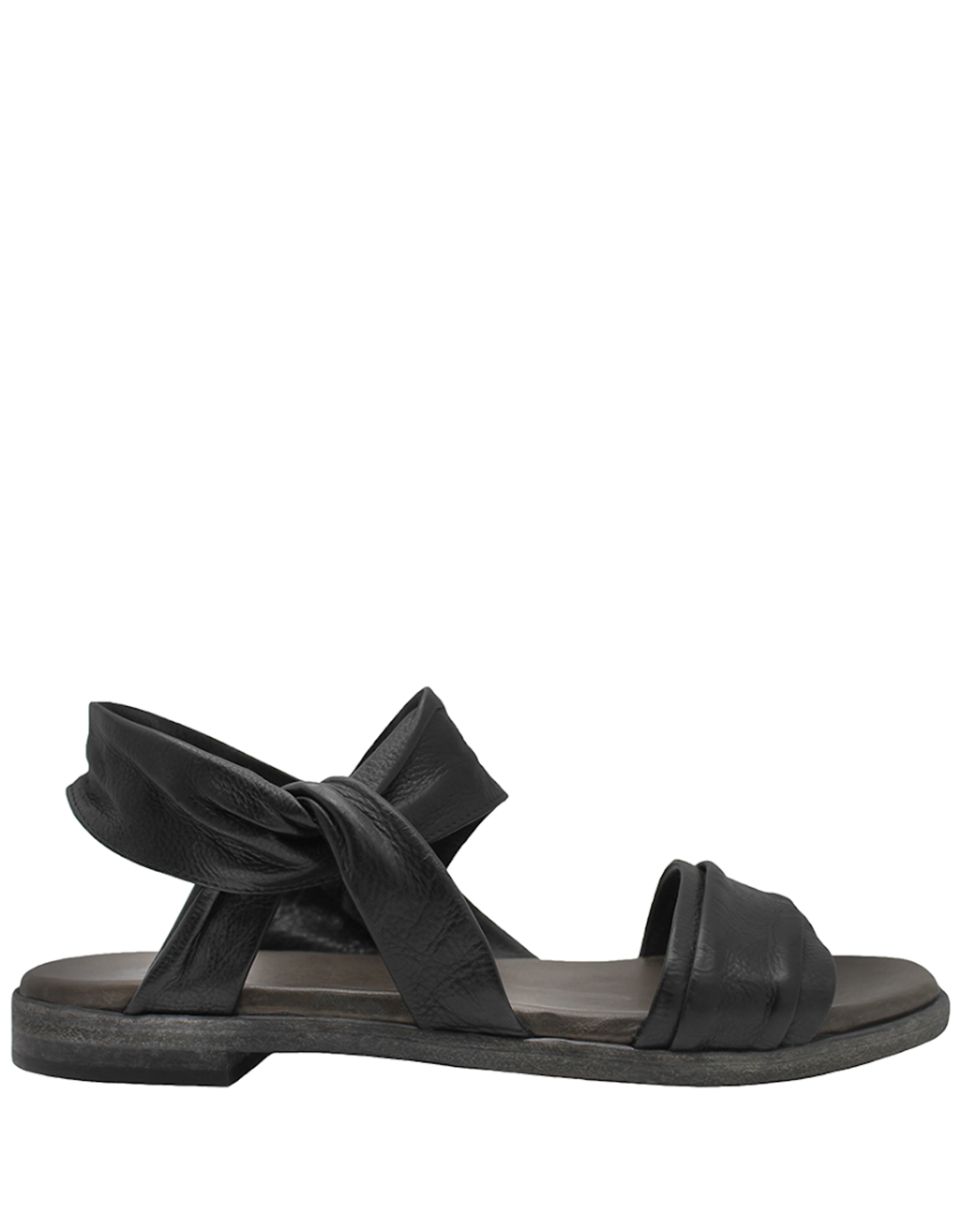 Now Now Black Ankle Strap Flat Sandal Layla