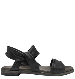 Now Now Black Ankle Strap Flat Sandal Layla