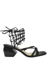 Ixos Ixos Black Ankle Tie Caged Thong Sandal With Block Heel 4007