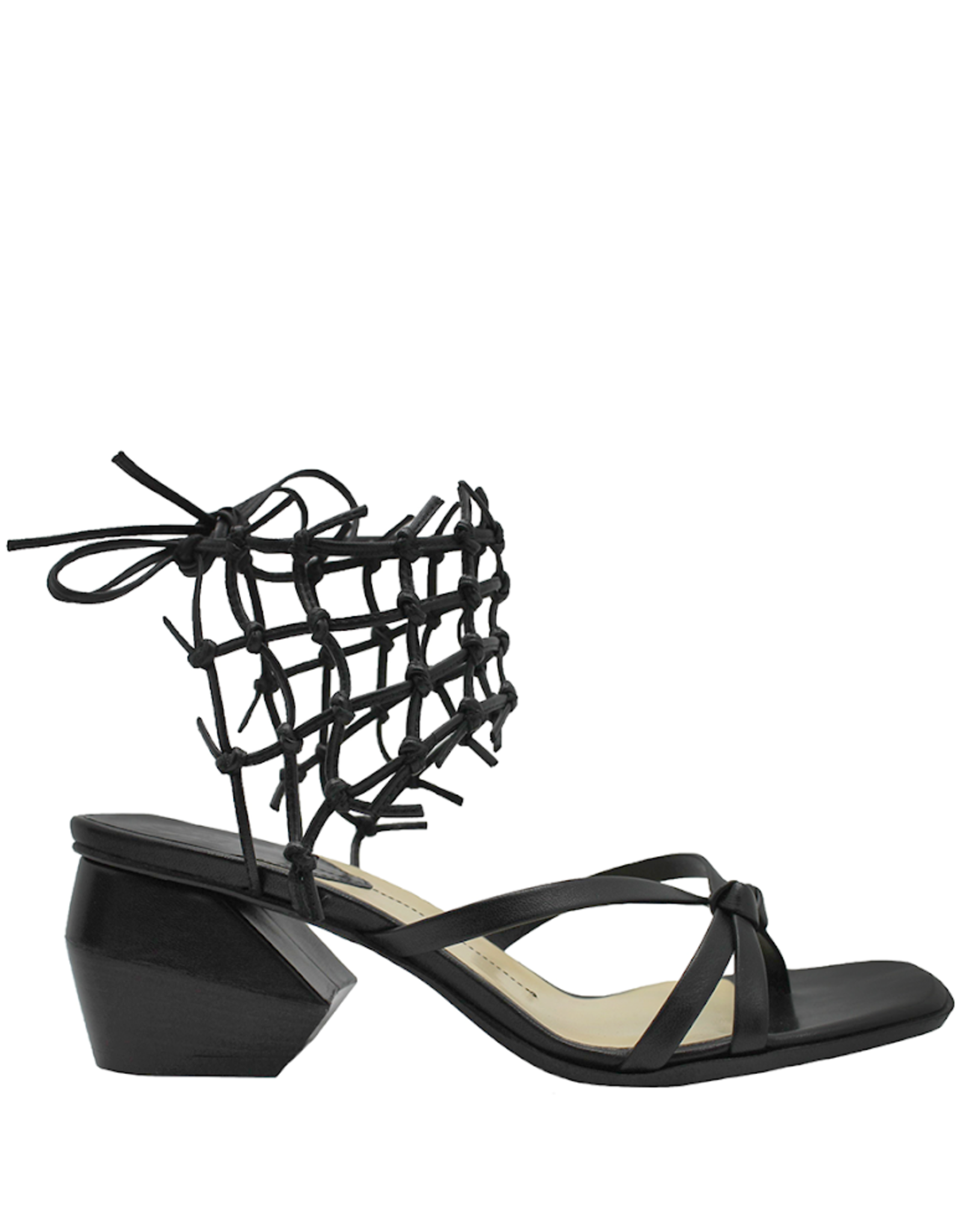 Ixos Ixos Black Ankle Tie Caged Thong Sandal With Block Heel 4007