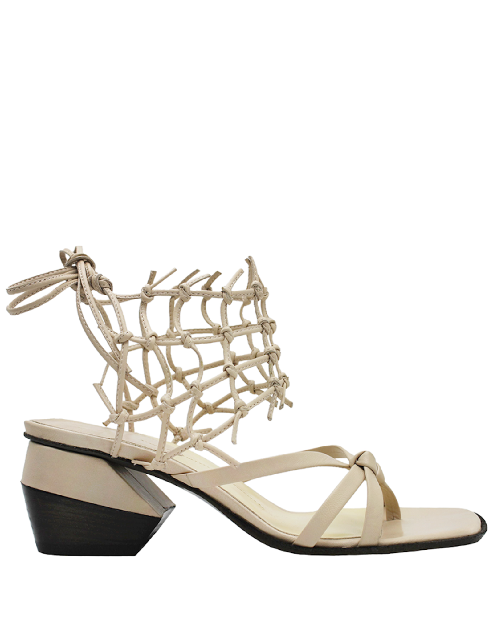 Ixos Ixos Nude Ankle Tie Caged Thong Sandal With Block Heel 4007