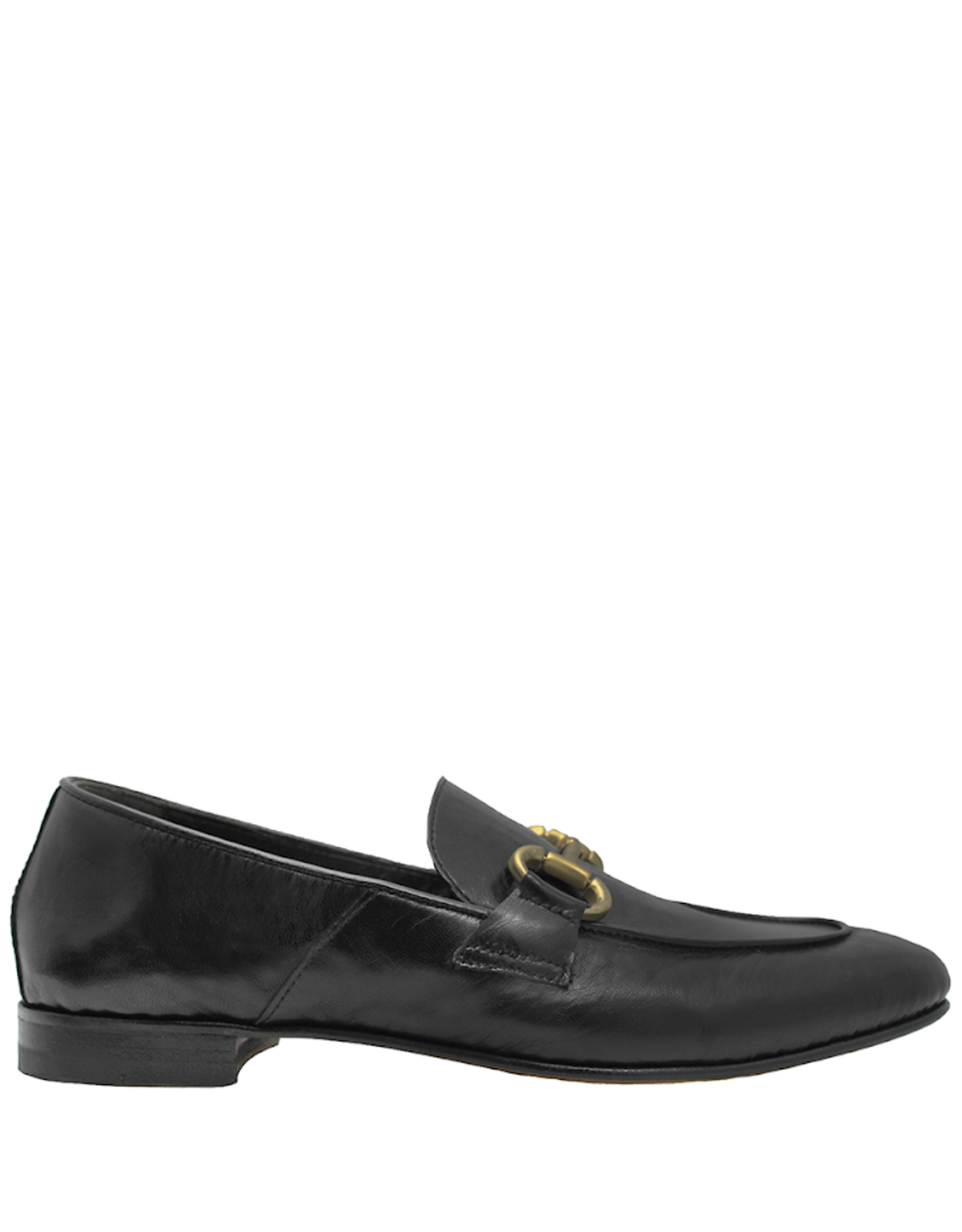 MaraBini MaraBini Black Nappa Flex-Sole Loafer With Gold Bit 7424