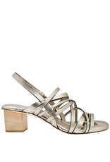 Del Carlo DelCarlo Gold Strappy Block Heel Sandals 1099