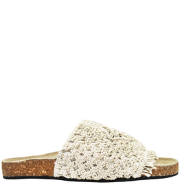 Strategia Strategia White Macrame Slide With Cork Bottom 4546