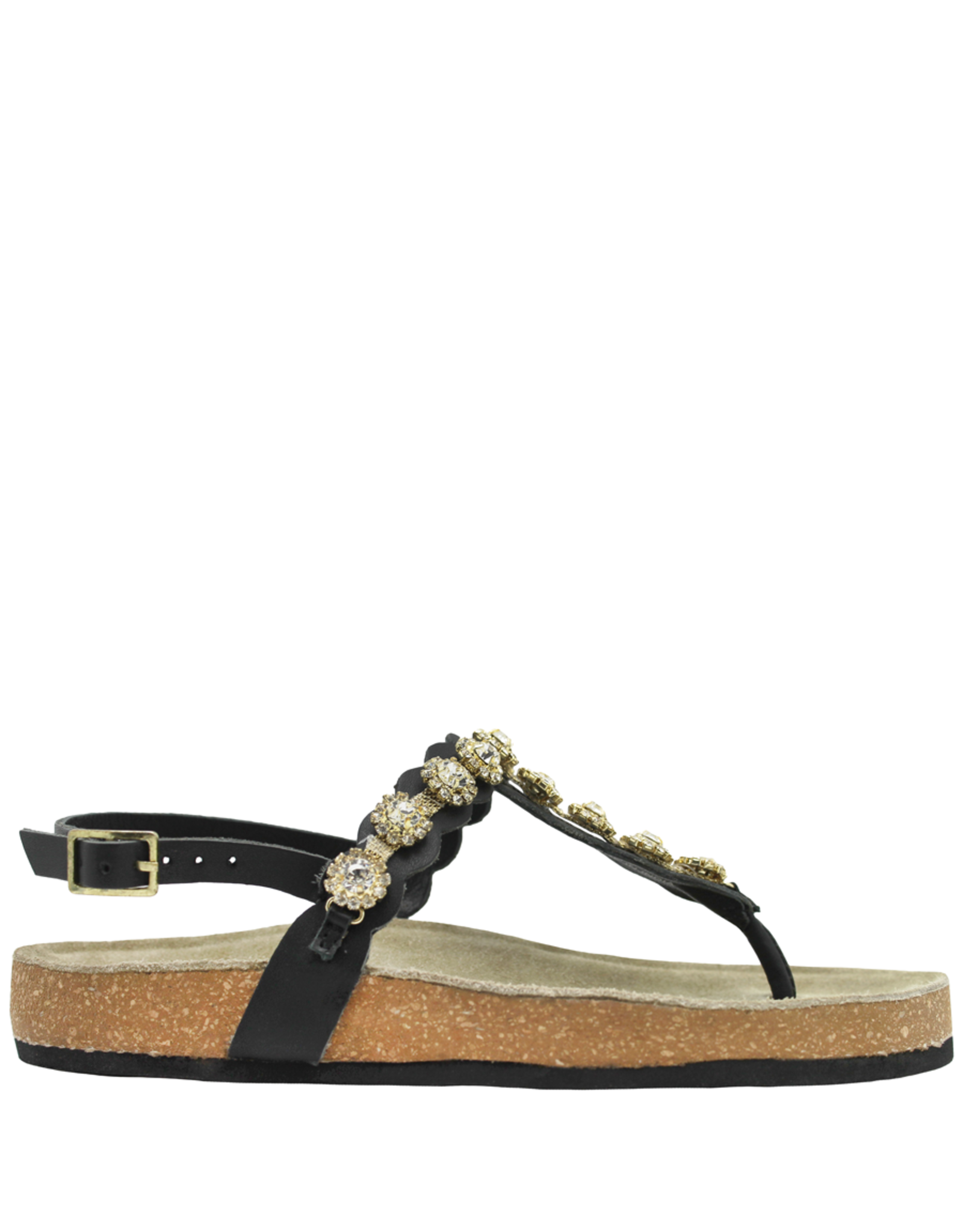 Strategia Strategia Black Sling With Crystal Florets Thong Cork Footbed 4548