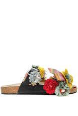 Strategia Strategia Black With Yellow Lillies Cork Sandals 4543