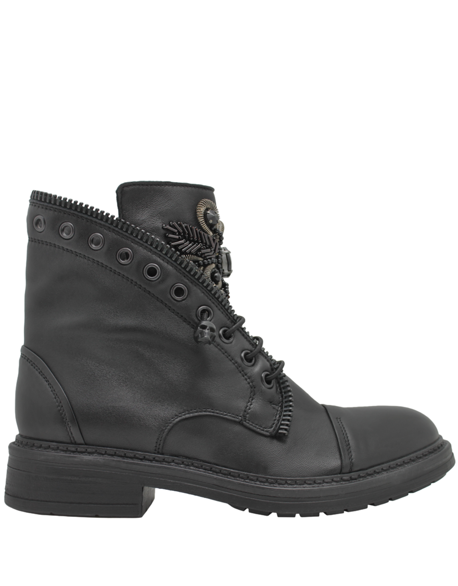 Now Now Black  Pull On Boot Zipper Trim With Medallion Detail 6468