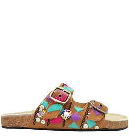 Strategia Strategia Tan Double Buckle Cork Footbed With Pink And Green 4544
