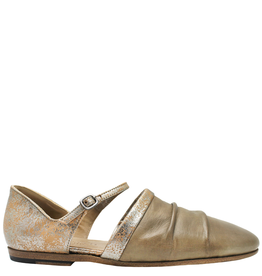Pantanetti Pantanetti Beige Flat Mary-Jane With Metal Crackle 1222