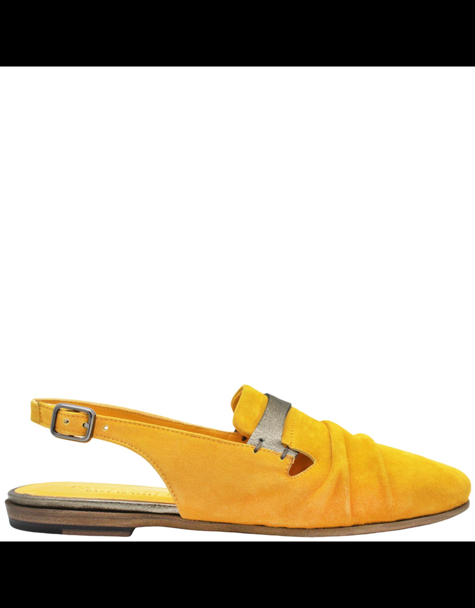 Pantanetti Pantanetti Yellow Suede Sling Flat Loafers 1224
