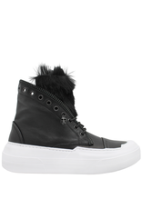 Now Now Black Fur Lined Sneaker With Zipper Trim 6515