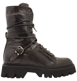 Now Now Brown Lace-Up Tread Bottom With Criss Cross Buckle 6533
