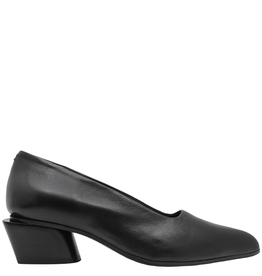 Halmanera Halmanera Black Kid Point Toe Pump Stack Heel 2026
