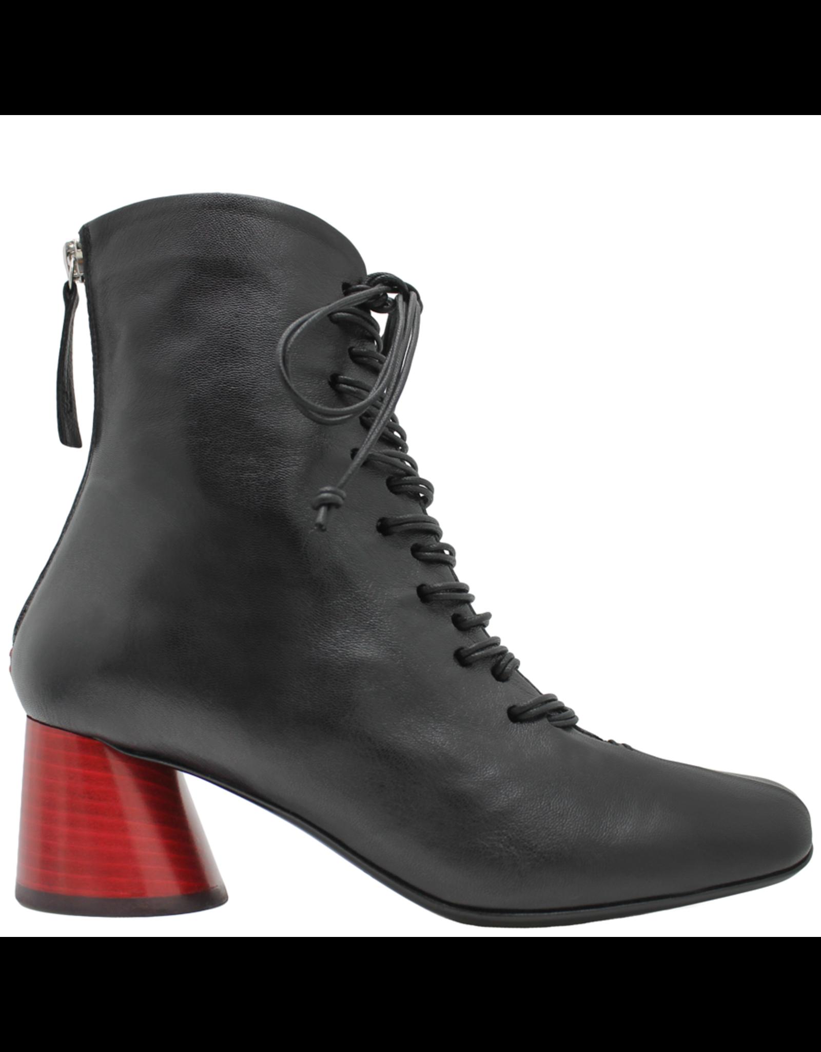 Halmanera Halmanera Black Square Toe Lace-Up Red Heel 2030