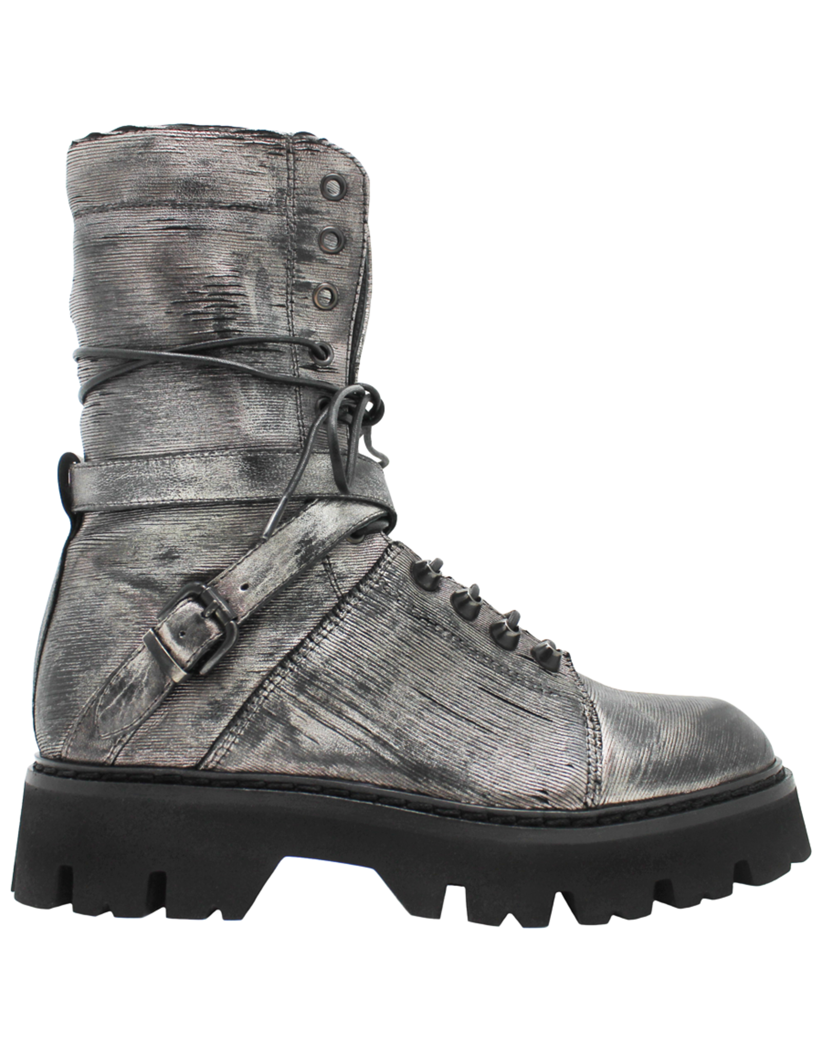 Now Now Silver Lace-Up Tread Bottom With Criss Cross Buckle 6533