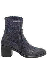 Strategia Strategia Navy Gator Ankle Boot With Side Zipper 3913