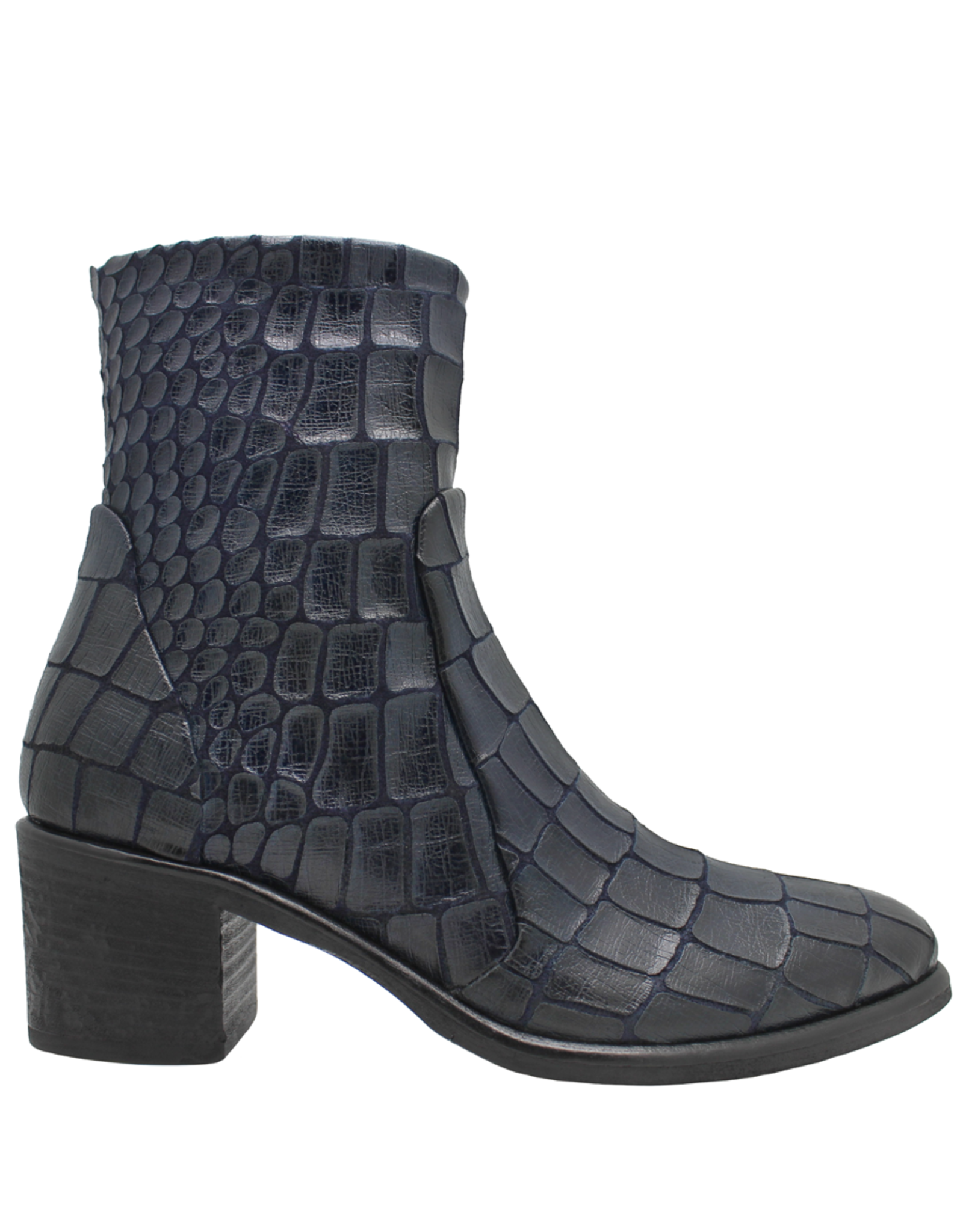 Strategia Strategia Navy Blue Gator Ankle Boot With Side Zipper 3913