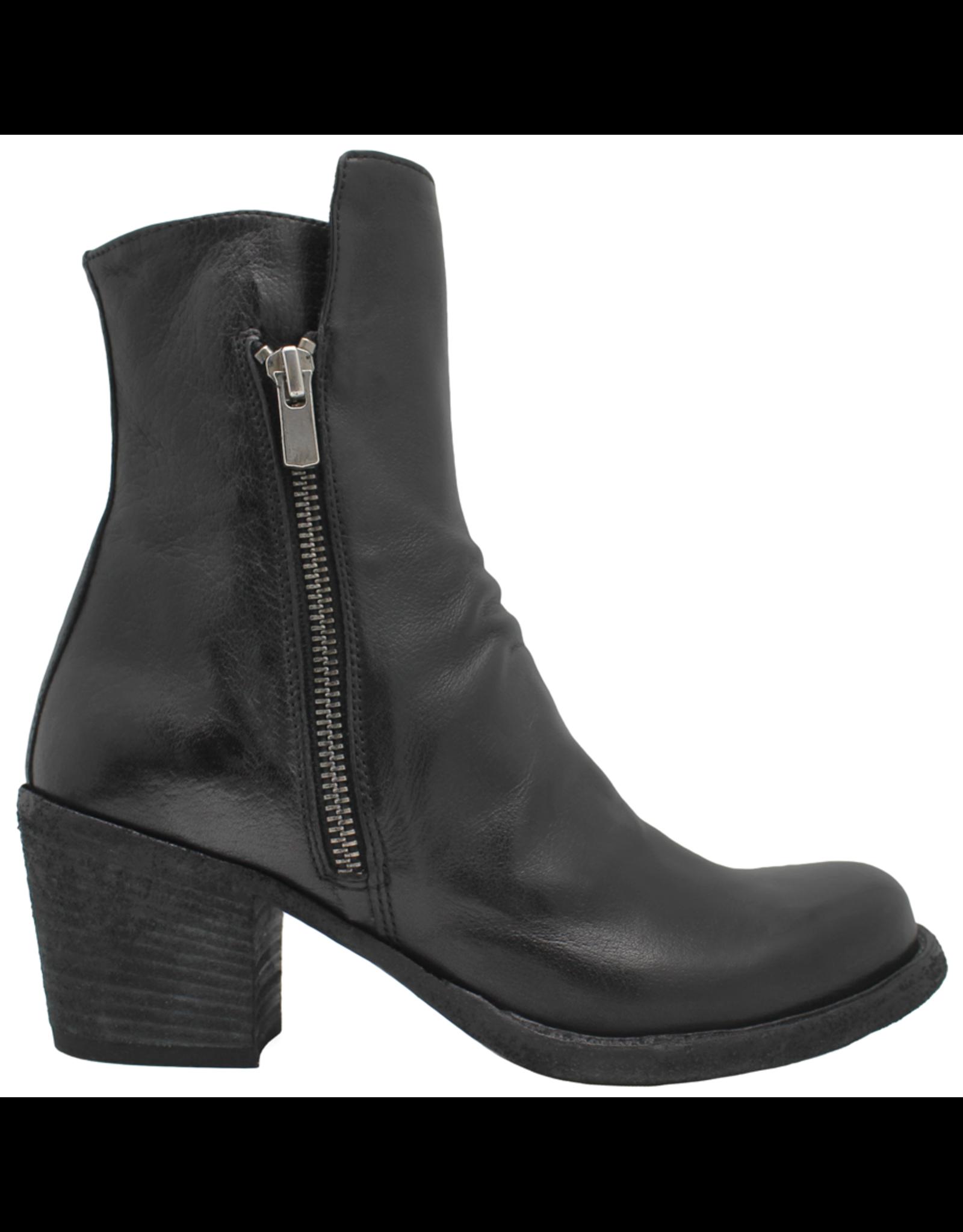 Officine Creative OfficineCreative Black Double Zipper Calf Ankle Boot Ariel
