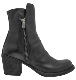 Officine Creative OfficineCreative Black Double Zipper Calf Ankle Boot Ariel