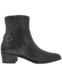 Ink Black Buckled Side Zip Ankle Boot 3030