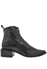Ink Black Ankle Boot With Laces And Side Zip 3320