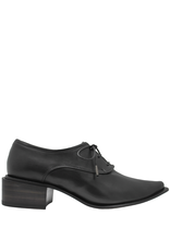 Ink Ink Black Soft Nappa Lace-Up Point Toe Shoe 3330