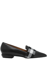 ModadiFausto ModadiFausto Black Nappa Point Toe Loafer W/ Buffalo Check 6122