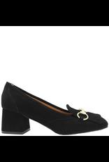 ModadiFausto ModadiFausto Black Suede Loafer With Gold Bit 6141