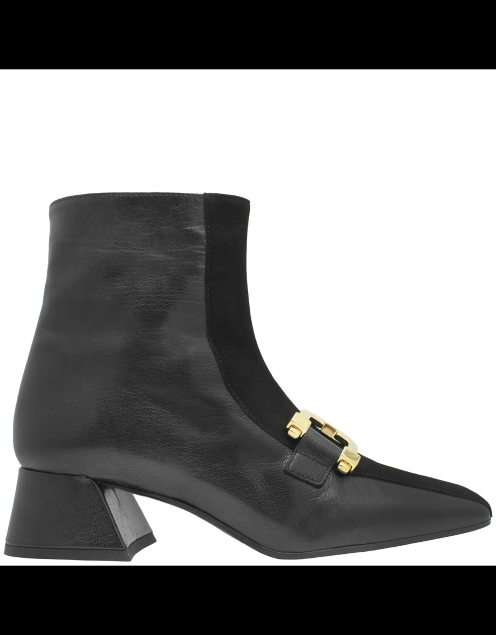 ModadiFausto ModadiFausto Black Square Toe Ankle Boot With Gold 6367
