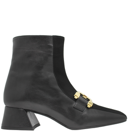 ModadiFausto ModadiFausto Black Square Toe Ankle Boot With Gold 6367